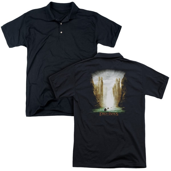 Lord Of The Rings/Kings Of Old (Back Print) Mens Regular Fit Polo in Black