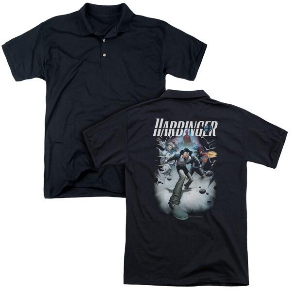 Harbinger/12 (Back Print) Mens Regular Fit Polo in Black