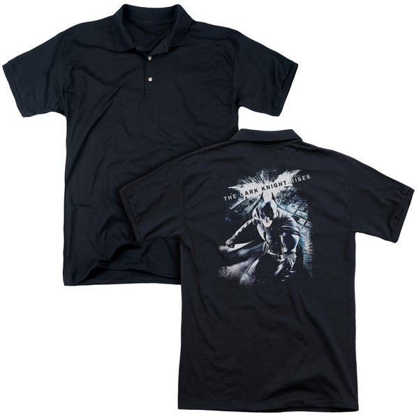 Dark Knight Rises/More Than A Man (Back Print) Mens Regular Fit Polo in Black