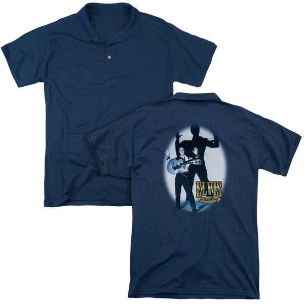 Elvis/Hands Up (Back Print) Mens Regular Fit Polo in Navy