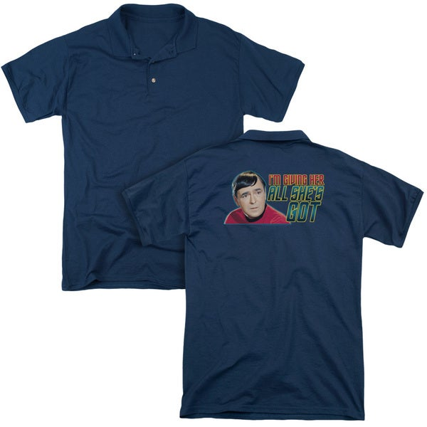 Star Trek/All She's Got (Back Print) Mens Regular Fit Polo in Navy