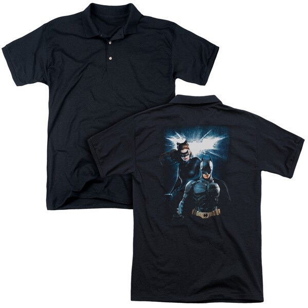 Dark Knight Rises/Bat & Cat (Back Print) Mens Regular Fit Polo in Black