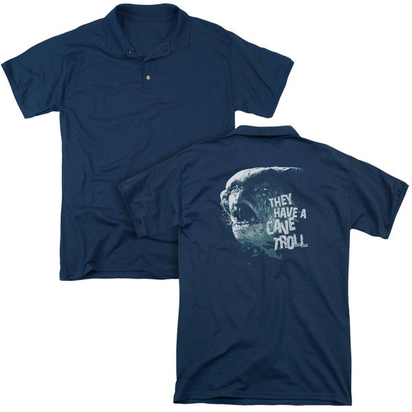 Lord Of The Rings/Cave Troll (Back Print) Mens Regular Fit Polo in Navy