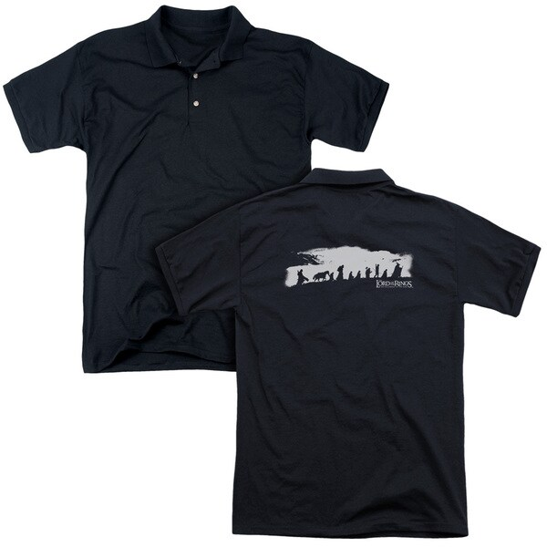 Lord Of The Rings/The Fellowship (Back Print) Mens Regular Fit Polo in Black