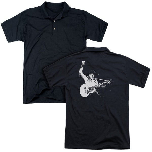 Elvis/Black&White Guitarman (Back Print) Mens Regular Fit Polo in Black