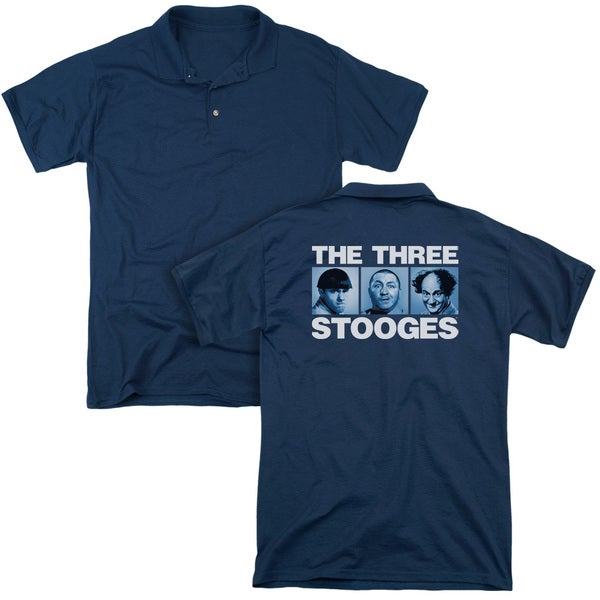 Three Stooges/Three Squares (Back Print) Mens Regular Fit Polo in Navy