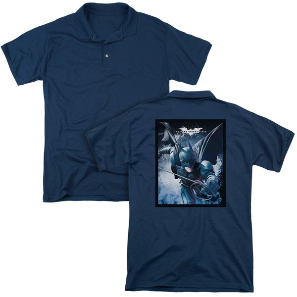 Dark Knight Rises/Swing Into Action (Back Print) Mens Regular Fit Polo in Navy