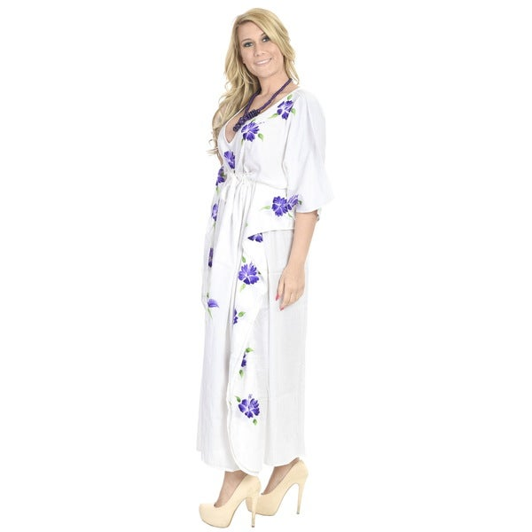 La Leela Rayon Hand Paint Kaftan Women Beach Night gown Kimono Cover up Purple