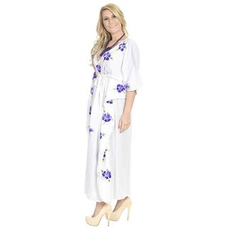 La Leela Women's Purple Rayon Long Kaftan Evening Beach Cover-up