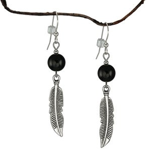 Jewelry by Dawn Black With Curved Pewter Feather Earrings