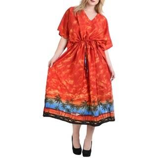 La Leela Women's Orange Silk 2-in-1 Loose Maxi Nightgown Super Soft Likre Beach Cloudy View Kaftan Dress