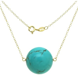 """DaVonna 18k Gold over Silver Cable Chain Necklace wit 18mm Simulated Turquoise Round Gemstone as Pendant Necklace, 18"""""""