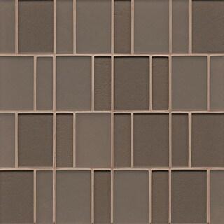 Brick Pattern Gloss Ash Glass Tile (Box Of 10 Sheets)