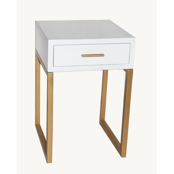 Metal wood 16 inch x 16 inch x 24 inch 1 drawer accent for Coffee tables 16 inches high