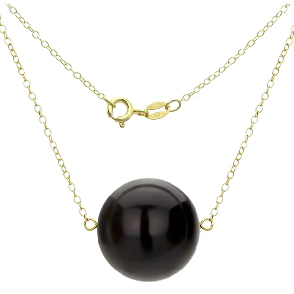 DaVonna 18k Gold over Silver Cable Chain Necklace wit 18mm ONYX Round Gemstone as Pendant Necklace