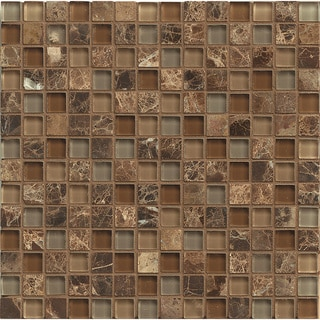 Brown Glass/Stone 12-inch x 12-inch Mosaic Blend Duet Tiles (Box of 10 Sheets)