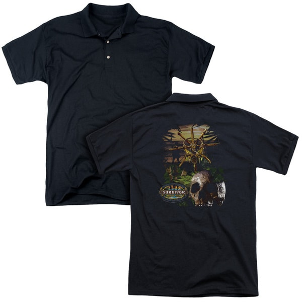 Survivor/Jungle (Back Print) Mens Regular Fit Polo in Black