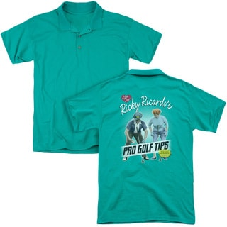 Lucy/Pro Golf Tips (Back Print) Mens Regular Fit Polo in Kelly Green