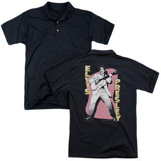 Elvis/Pink Rock (Back Print) Mens Regular Fit Polo in Black
