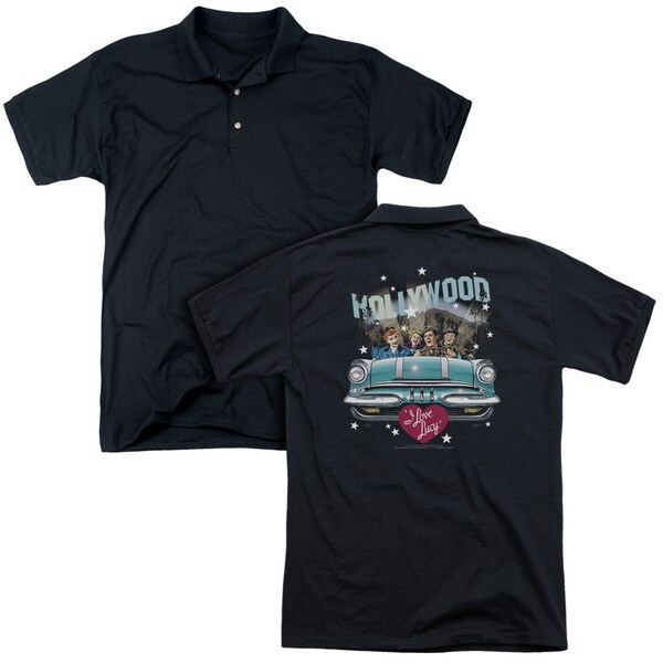 Lucy/Hollywood Road Trip (Back Print) Mens Regular Fit Polo in Black