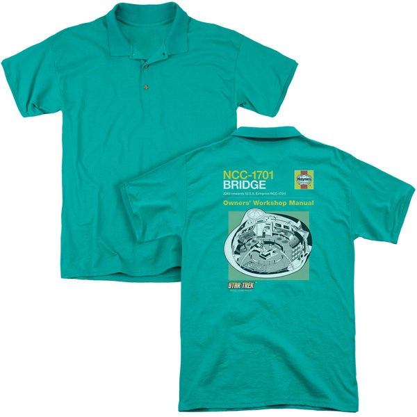 Star Trek/Bride Manual (Back Print) Mens Regular Fit Polo in Kelly Green