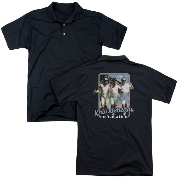 Three Stooges/Knucklesheads On Vacation (Back Print) Mens Regular Fit Polo in Black