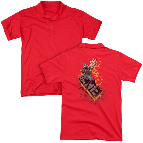 Dark Knight Rises/Bane On Fire (Back Print) Mens Regular Fit Polo in Red
