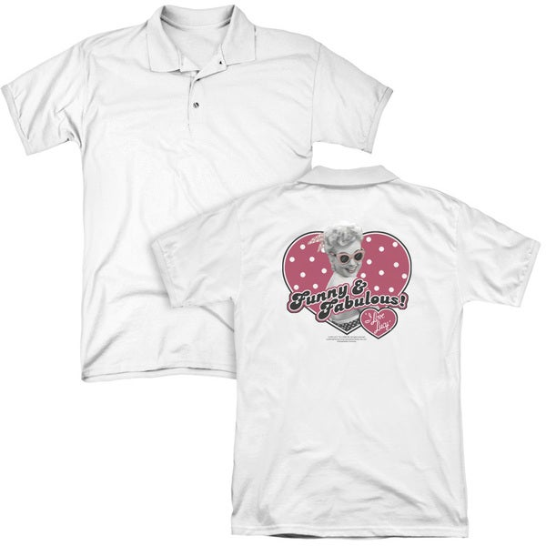Lucy/Funny & Fabulous (Back Print) Mens Regular Fit Polo in White