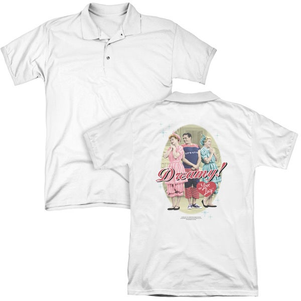 Lucy/Dreamy! (Back Print) Mens Regular Fit Polo in White