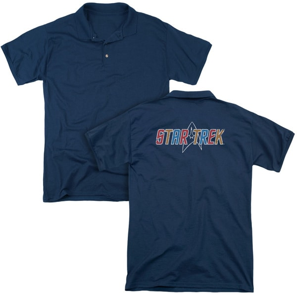 Star Trek/Multi Colored Logo (Back Print) Mens Regular Fit Polo in Navy
