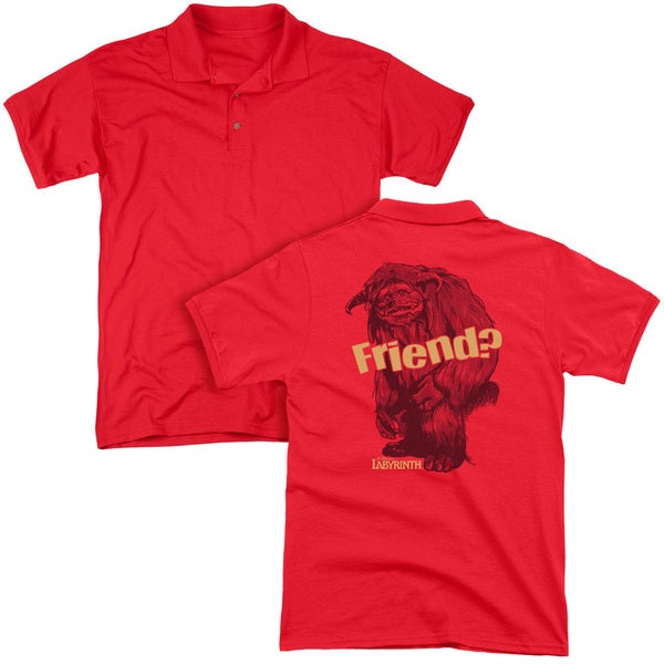 Labyrinth/Ludo Friend (Back Print) Mens Regular Fit Polo in Red