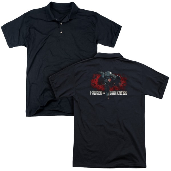 Dark Knight Rises/Forged in Darkness (Back Print) Mens Regular Fit Polo in Black