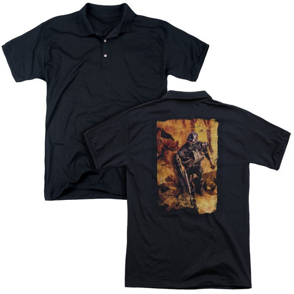 Terminator/Bodies (Back Print) Mens Regular Fit Polo in Black