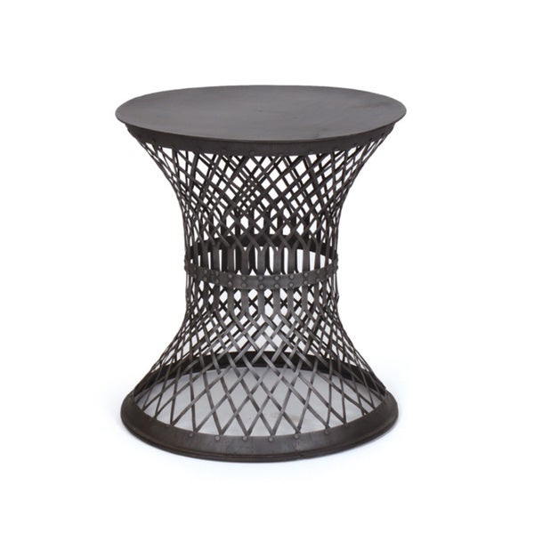 Hip Vintage Black Iron Lattice Side Table