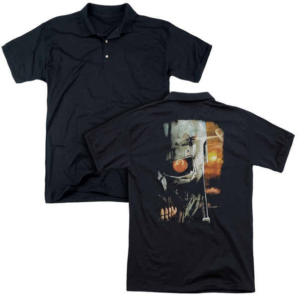 Terminator/Sketchy (Back Print) Mens Regular Fit Polo in Black