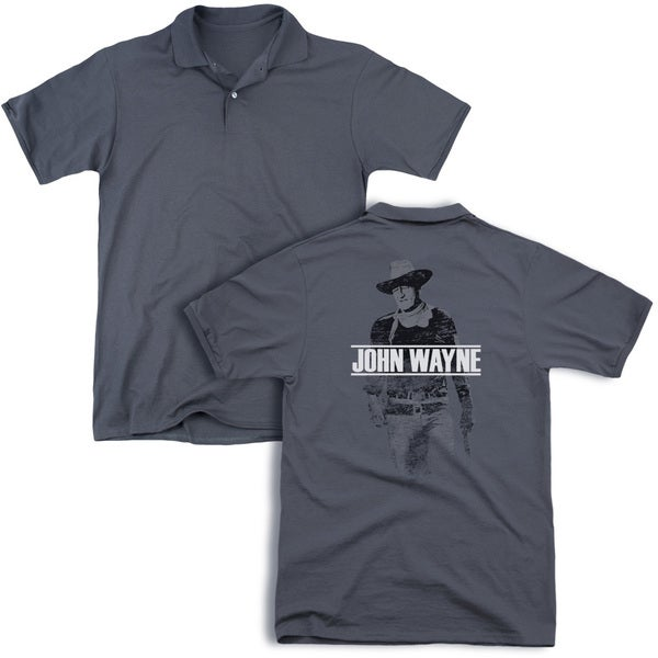 John Wayne/Fade Off (Back Print) Mens Regular Fit Polo in Charcoal