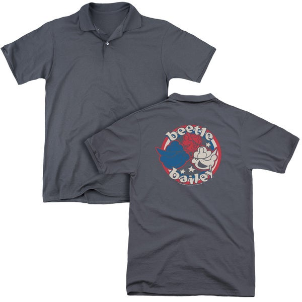 Beetle Bailey/Red White and Bailey (Back Print) Mens Regular Fit Polo in Charcoal