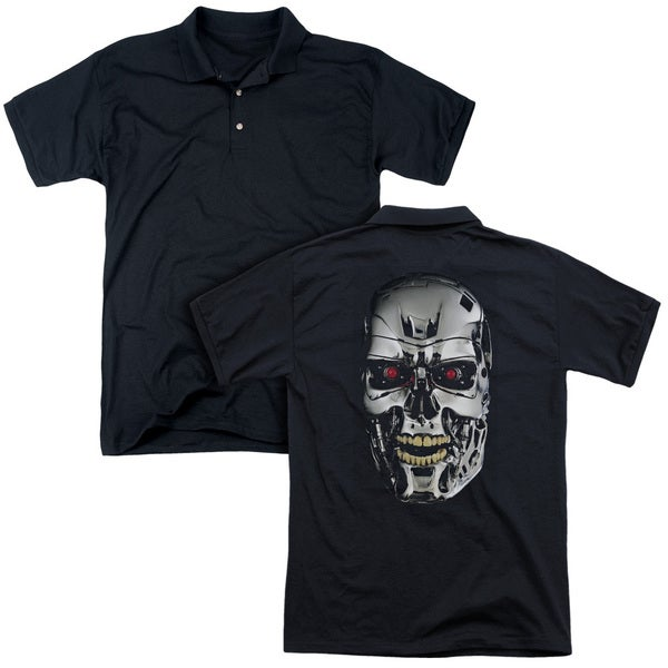 Terminator/Skull (Back Print) Mens Regular Fit Polo in Black