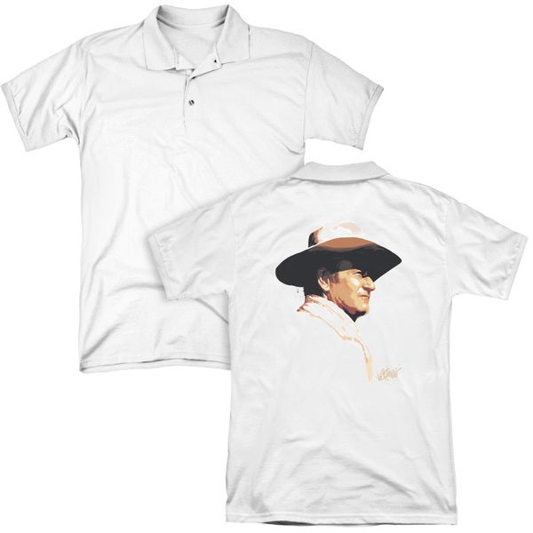 John Wayne/Painted Profile (Back Print) Mens Regular Fit Polo in White