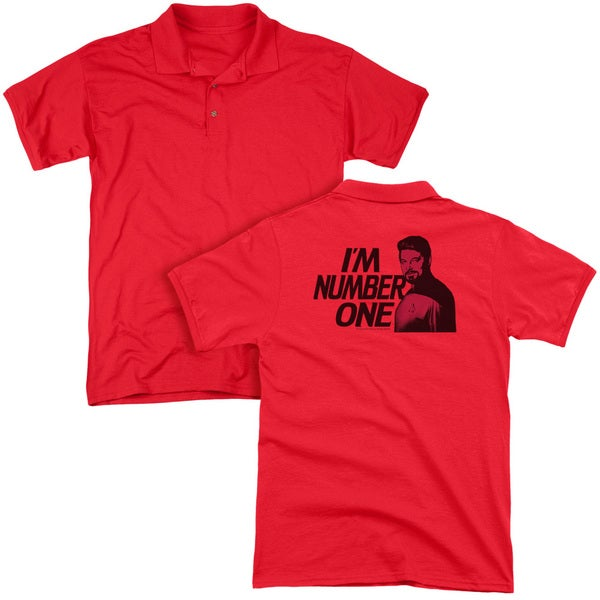 Star Trek/Im Number One (Back Print) Mens Regular Fit Polo in Red