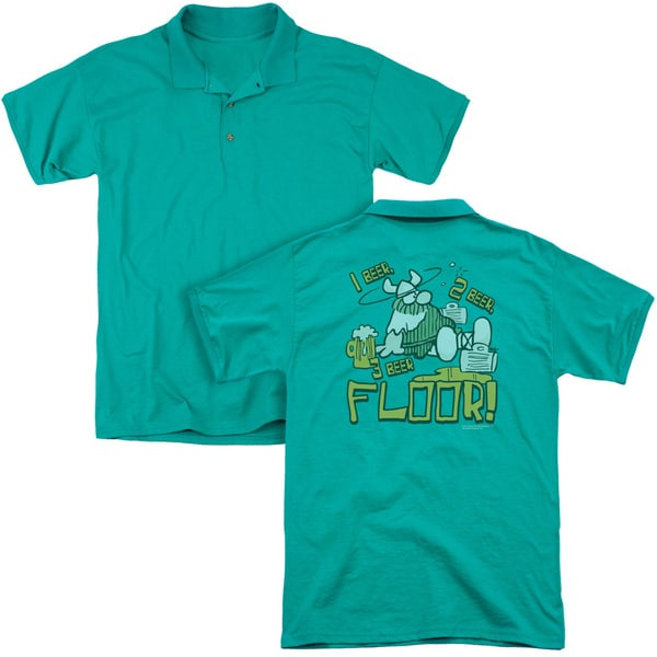 Hagar The Horrible/1 2 3 Floor (Back Print) Mens Regular Fit Polo in Kelly Green