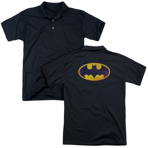 Batman/Bm Neon Distress Logo (Back Print) Mens Regular Fit Polo in Black