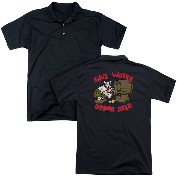 Hagar The Horrible/Save Water Drink Beer (Back Print) Mens Regular Fit Polo in Black