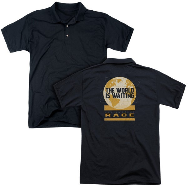 Amazing Race/Waiting World (Back Print) Mens Regular Fit Polo in Black