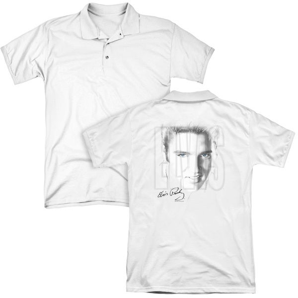 Elvis/Blue Eyes (Back Print) Mens Regular Fit Polo in White