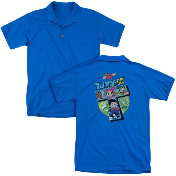 Teen Titans Go/T (Back Print) Mens Regular Fit Polo in Royal