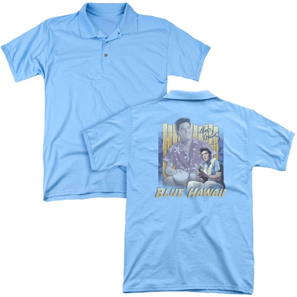 Elvis/Blue Hawaii (Back Print) Mens Regular Fit Polo in Carolina Blue