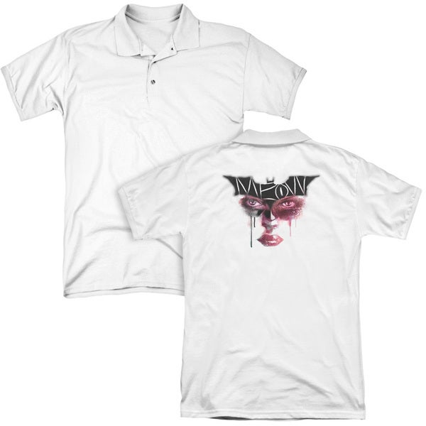 Dark Knight Rises/Meow (Back Print) Mens Regular Fit Polo in White