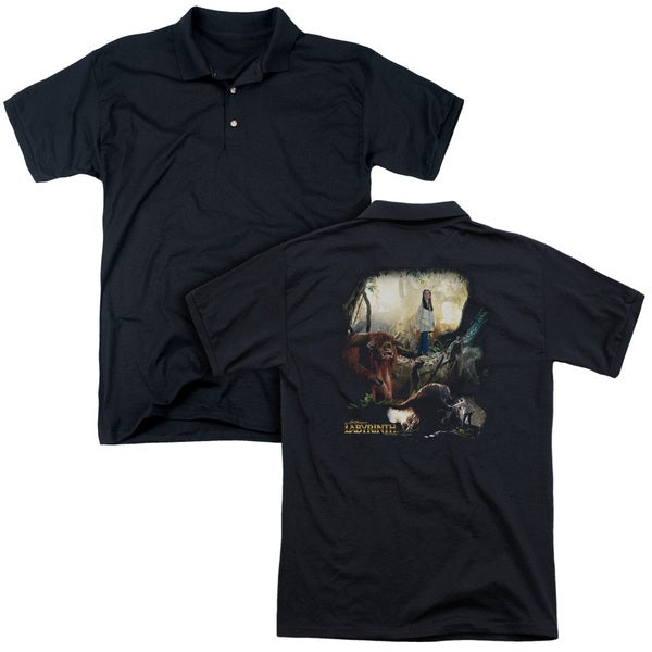 Labyrinth/Sarah & Ludo (Back Print) Mens Regular Fit Polo in Black