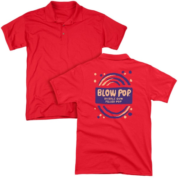 Tootsie Roll/Blow Pop Rough (Back Print) Mens Regular Fit Polo in Red